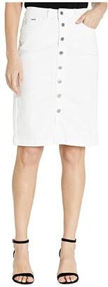 FDJ French Dressing Jeans Sunset Hues Denim Skirt Button Front Detail in White (White) Women's Skirt