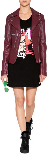 McQ Leather Jacket with Peplum in Oxblood