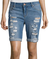 Tinseltown Sapphire Ink Slim-Fit Destructed Bermuda Shorts