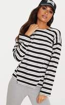 PrettyLittleThing Black Long Sleeve Stripe T Shirt