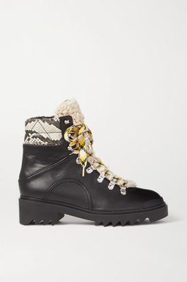 Aquazzura Sierra 40 Shearling-trimmed Snake-effect And Smooth Leather Boots - Black