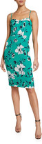 Black Halo Clover Floral-Print Spaghetti-Strap Sheath Dress