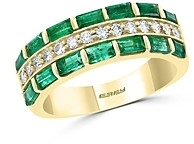 Bloomingdale's Emerald & Diamond Halo Multi-Row Ring in 14K Yellow Gold - 100% Exclusive