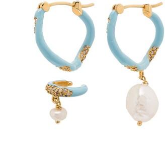 Joanna Laura Constantine Waves gold-plated pearl hoop earrings