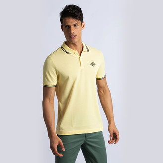 Lacoste Yellow Piped Neck Polo Shirt M (Available for UAE Customers Only)