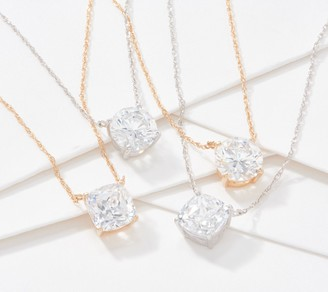 Diamonique Solitaire Round or Cushion Necklace, 14K Gold