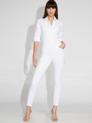 New York & Co. White Denim Jumpsuit - Gabrielle Union Collection