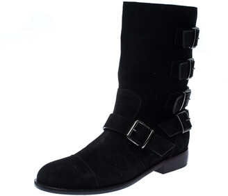 Giuseppe Zanotti Black Suede Leather Buckle Ankle Boots Size 38
