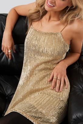 NA-KD Spaghetti Strap Sequin Dress Gold