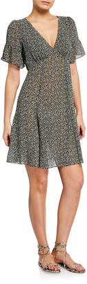 MICHAEL Michael Kors Lilly Printed Short-Sleeved Mini Flare Dress