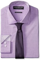 Nick Graham Men's Chambray Dress Shirt with Purple Houndstooth Tie