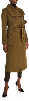 Sentaler Baby Alpaca Long Wide-Collar Wrap Coat