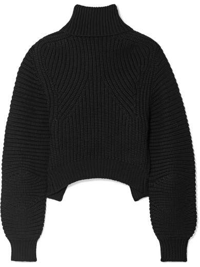 Alexander Wang Open-back Ribbed Wool Turtleneck Sweater - Black