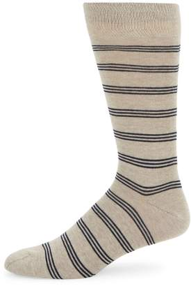 Saks Fifth Avenue Made In Italy Tri-Striped Crew Socks