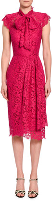 Dolce & Gabbana Ruched-Lace Cap-Sleeve Dress