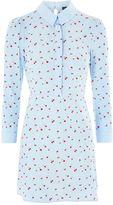 Topshop Cherry Print A-Line Shirt Dress