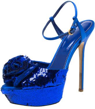 Sergio Rossi Blue Sequin Embellished Ankle Strap Platform Sandals Size 37.5