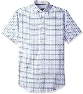 XXL BUGATCHI Mens Slim Fit Navy Cross Pattern Short Sleeve Shirt