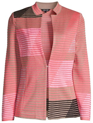 Misook Geometric Striped Knit Blazer