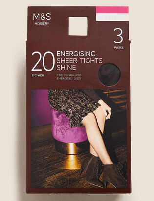 Marks and Spencer 3 Pairs of 20 Denier Energising Sheer Tights