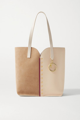 See by Chloe Gaia Studded Leather And Suede Tote - Sand
