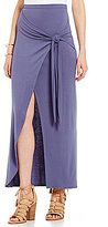 GB Faux-Wrap Knit Maxi Skirt