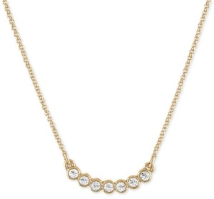 "Rachel Roy Gold-Tone Crystal Curved Pendant Necklace, 16"" + 2"" extender"