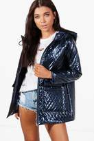 Boohoo Petite Hayley Metallic Quilted Rain Coat navy