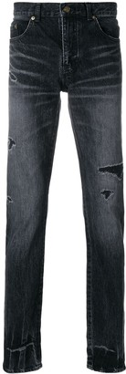 Saint Laurent Ripped Low-Rise Skinny Jeans