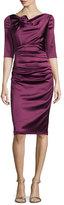 Talbot Runhof Gosling 3/4-Sleeve Ruched Satin Dress, Wine