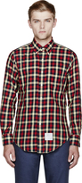 Thom Browne Navy Flannel Gingham Check Classic Shirt