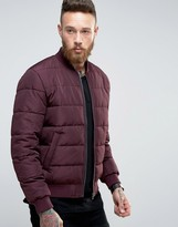Asos Quilted Bomber Jacket In Burgundy