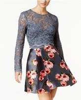 B. Darlin Juniors' 2-Pc. Sequin Lace Printed Fit & Flare Dress, a Macy's Exclusive Style