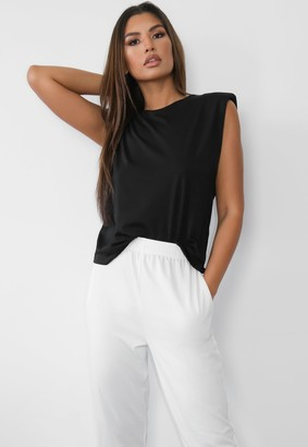 Missguided Black Shoulder Pad Sleeveless Top