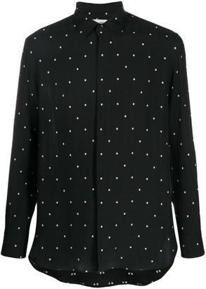 Saint Laurent Vertical Stripe Embroidered Shirt