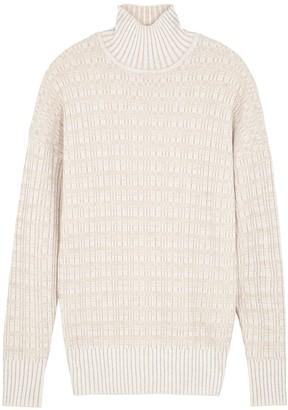 Varley Georgina Oatmeal Stretch-knit Jumper