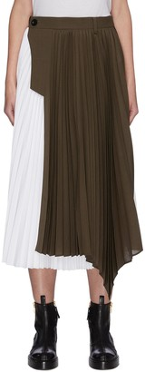 Sacai Contrast Panel Asymmetric Hem Pleated Midi Skirt