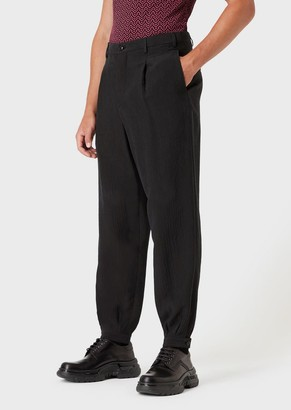 Giorgio Armani Wide Trousers In Crinkled Cupro With Darts