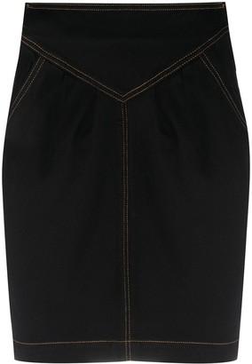 BA&SH Lane contrast-stitch skirt