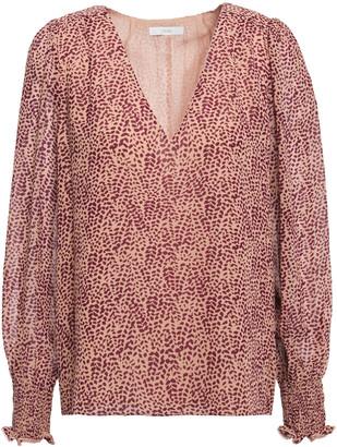 Joie Bolona Shirred Printed Silk-chiffon Blouse