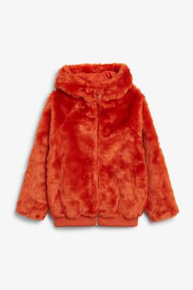 Monki Hooded faux fur jacket