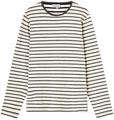 Jigsaw Melange Stripe Long Sleeve Breton Top, Navy