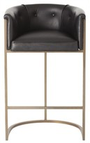 The Well Appointed House Antique Calvin Brass Bar Stool with Black Leather Upholstery