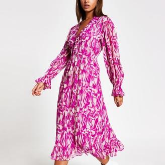 River Island Womens Pink printed long sleeve smock midi dress