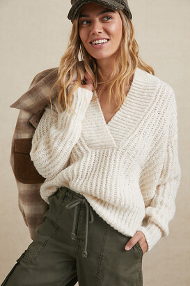 Pilcro And The Letterpress Pilcro Joyce V-Neck Sweater By in White Size XS