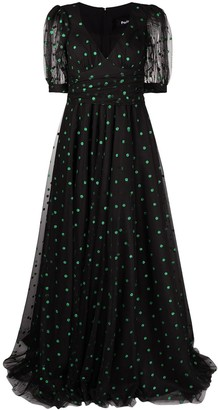 Parlor Polka Dot Print Evening Gown