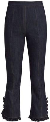 Cinq à Sept Senica Ruffled Crop Flare Jeans