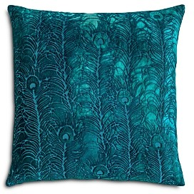 Kevin O'Brien Studio Peacock Feather Velvet Decorative Pillow, 22 x 22