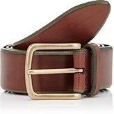 Barneys New York Men's Beveled-Edge Calfskin Belt-TAN