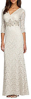 Alex Evenings Beaded-Waist Lace Gown